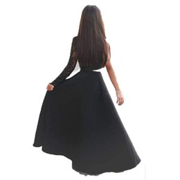 ab8167007c1b Blanco marfil Negro Una línea de vestidos de niña de las flores Vestido de  fiesta de un solo hombro de dos piezas para niña Formal