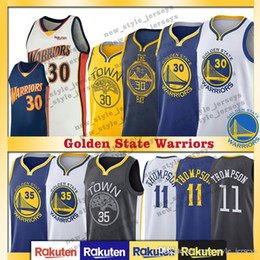 4a3478b9b874 Durant Golden Men State Curry city Warriors jersey Durant 35 Kevin Thompson  11 Klay blue White Basketball Jerseys