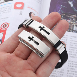 Mens Titanium Cross Chain Australia - Stainless steel Cross Sign bracelet For Mens & Women Black Silicone Wrap Bangle Titanium steel 2019 Fashion Sport Jewelry Gift