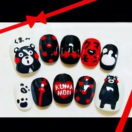 Discount patterned acrylic nail tips - Japanese bear pattern fake nails cute cartoon pattern false nails 24pcs decorated short size acrylic full nail tips