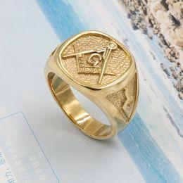 Mason ring stainless online shopping - Stainless Steel Free Mason Freemasonry Ring Gold Hip Hop Cool Ring Men Golden Rings Punk Rock Jewelry Anillos Bar Club Freemason D19011502