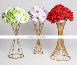 Discount lead holder - Metal Flower Holders Metal Candlestick Flower Vase Table Centerpiece Event Flower Rack Road Lead Wedding Decoration