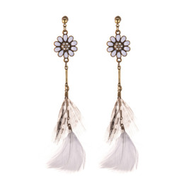Wholesale Supply sun flower feather earrings female European and American retro long exotic wind earrings