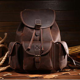 $enCountryForm.capitalKeyWord Canada - Top Quality Crazy Horse Cowhide First Layer Knapsack Male Computer Bag School Bags Vintage Genuine Leather Rucksack Men Backpack Y19061102