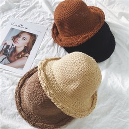 $enCountryForm.capitalKeyWord Canada - Japanese Chic Literature and Art Grass-knitting Fisherman's Cap with Curly Edge and Small Round Cap Sunhat