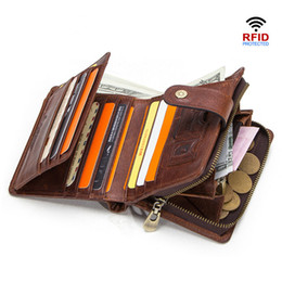$enCountryForm.capitalKeyWord Australia - Genuine Leather RFID Vintage Wallet Men With Coin Pocket Short Wallets Small Zipper Wallet with Card Holders Man Purse