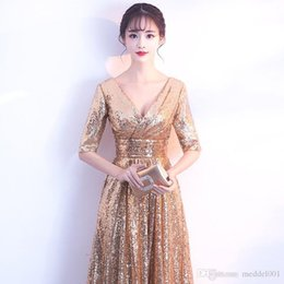 gold red elegant accessories Australia - 2019 noble and elegant gold A-style skirt party evening dress sexy v-tie corset accessories formal banquet dress