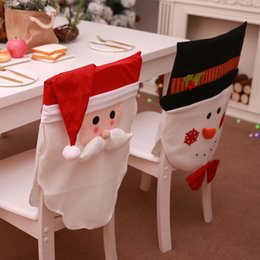 christmas santa chair Canada - 2018 New Style Christmas Scene Decorations Non-woven Chair Set Decorations Cartoon Santa Claus Snowman Christmas Hat