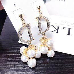 $enCountryForm.capitalKeyWord Australia - Pearl studs Long Temperament Exaggeration Full Diamond Pearl Joker Fashion Elegant Letter D Earrings Fashion 2019 New Style