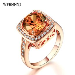 $enCountryForm.capitalKeyWord Australia - Rose Gold Color Shiny 9mm Champagne Zirconia Crystal Square Royal Design Women Finger Rings Wholesale Christmas Gifts