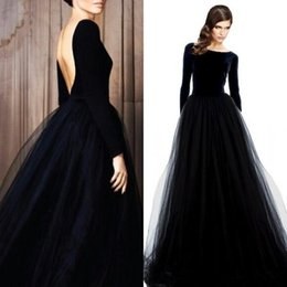 black open back party dresses Australia - Vintage Long Sleeve Evening Gowns Velvet Dresses Black Prom Party Dress Bateau Neck Open Back Tulle Skirt Floor Length Formal Wear Sleeves
