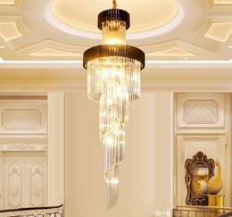 long spiral modern chandelier Australia - Modern luxury large gold pendant spiral crystal chandelier lighting creative long chandeliers crystal led lamp for hotel hall home MYY