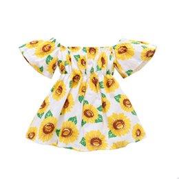 $enCountryForm.capitalKeyWord Australia - Summer Dress Girl Sunflower Print Off The Shoulder Bohemian Beach Dress Little Girls Clothing Mustard Yellow Baby Robe Kid DHL FJ469
