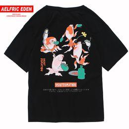 Mens Patterned Tees Australia - Aelfric Eden Cyprinoid Pattern Print Casual Short Sleeve Harajuku T-shirts Mens 2019 Summer Hip Hop Tops Tees Fashion Streetwear C190420