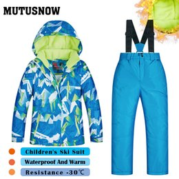 Children Winter Ski Suit Australia - MUTUSNOW Boys Ski Suit Children's Brands High Quality Skiwear Windproof Waterproof Snow Pants Warm Child Winter Thick Snowboard Suits LQP