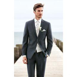 $enCountryForm.capitalKeyWord Australia - New Fashionable Two Button Dark Grey Groom Tuxedos Peak Lapel Groomsmen Best Man Mens Wedding Suits (Jacket+Pants+Vest+Tie) 674