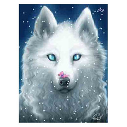 Discount wolf landscape paintings - kexinzu 5D DIY Diamond Painting Wolf Animals Embroidery Full Square Round Stone Beads Diamant Cross Stitch Mosaic Gift