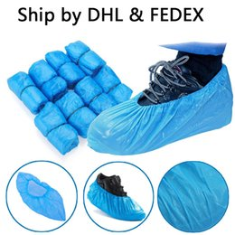 plastic carpets UK - Plastic Waterproof Disposable Shoe Covers Rain Day Carpet Floor Protector Blue Cleaning Shoe Cover Overshoes For Home