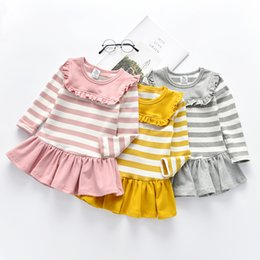 clothes for years old Australia - Long Sleeve Striped Little Girls Dress for Fall Winter Girls Casual Clothes Navy Dress Size 18M to 10 Years Old