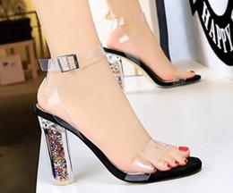 $enCountryForm.capitalKeyWord Australia - European and American fashion sexy nightclub high heel crystal with high heel transparent word with open toe ladies sandals