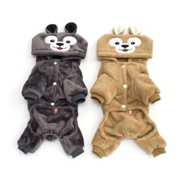 male cat clothes Canada - New Cosplay Cute Bear Pet Hoodie Dog Costume Clothes Apparel Plush Warm Winter For Cat Dog Funny Cosplay Pet Jumpsuit Sweater