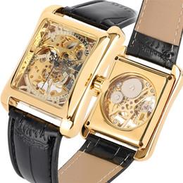 Unique Watches For Men Australia - Mechanical Watch for Men Unique Rectangle Skeleton Men Watch Manual Mechanic Genuine Leather Band Cool Wrist Watches reloj