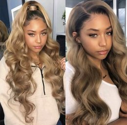 $enCountryForm.capitalKeyWord Australia - Full Lace Human Hair Wigs Ombre Two Tone 1B 27 Wavy Brazilian Virgin Hair 150 Density Natural Hairline Glueless Bleached Knots