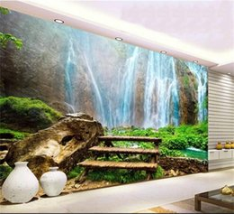 3d wall sticker water 2019 - custom size 3d photo wallpaper living room mural waterfall river water landscape picture sofa TV backdrop wallpaper non-