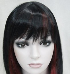 Wigs Mixed Black Burgundy Australia - LL HOT Free Shipping >> Hivision Black Burgundy Mixed Medium short Women ladies Daily Wig FTLD126