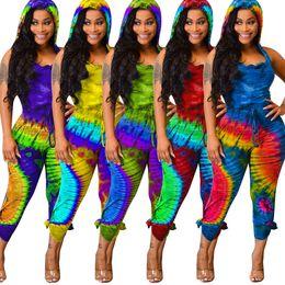 $enCountryForm.capitalKeyWord Australia - New Women Summer Bohemian Black Hole Tie Dye Print Hooded Cut Out Back Jumpsuit Sexy Romper Playsuit 5 Color