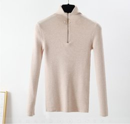 $enCountryForm.capitalKeyWord NZ - casual Zipper Sweater Women Turtleneck Solid spring autumn female Knitted sweater Pullovers long Sleeve chic Soft Jumper top
