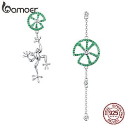 Wholesale jump animals online – design BAMOER Authentic Sterling Silver Jumping Frog Green Zircon Drop Earrings for Women Long Chain Animal Earrings Jewelry BSE027