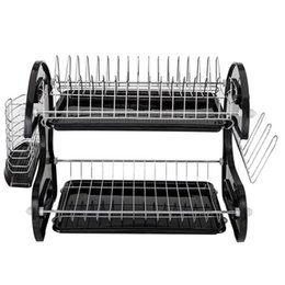 Wholesale US shipping new kitchen storage box multi-function double dish chopsticks and spoon collection rack dish drainer black
