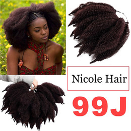 $enCountryForm.capitalKeyWord NZ - Hot Sale 8 Inch Soft Marley Braids Hair Crochet Afro Kinky Synthetic Braiding Hair Extensions Bulk Black Brown Bug Corlor Free Shipping