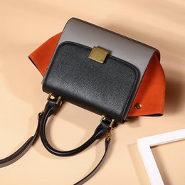 $enCountryForm.capitalKeyWord Australia - Belle2019 Woman Leather Genuine Hit Color Bat Package Single Shoulder Span Portable Bag