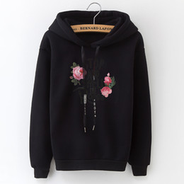 $enCountryForm.capitalKeyWord Australia - Women's Hooded Sweatshirt New Casual Top Applique Lettering Rose Solid Slim Women's Fashion Top Black And White Grey Pink