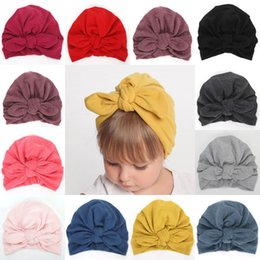 Newborn Black Baby Beanies NZ - Soft Cute Newborn Toddler Kids Baby Boy Girl Flower Bowknot Cotton Beanie Hat Winter Warm Cap For 6 Colrs NEW