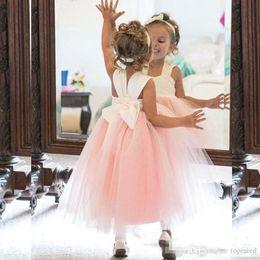 $enCountryForm.capitalKeyWord Australia - Elegant Cheap Cute Flower Girl Dresses Princess Ivory White Light Pink Puffy Tulle Formal Gowns for Weddings Ankle Length Girls Wear