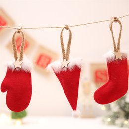 Wholesale Christmas Tree pendant Styles Socks Hat Gloves Shape Xmas Tree Ornaments christmas Party decorations DIY Crafts JY441