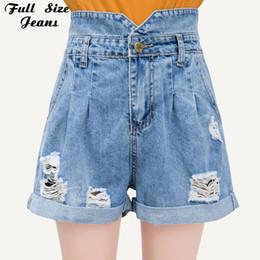 449c5586dc Plus Size Bud Pantalones vaqueros cortos de mezclilla de cintura alta para  mujeres 4Xl 6Xl 7Xl Verano de gran tamaño sueltos Ripped Cuffed Hem  pantalones ...