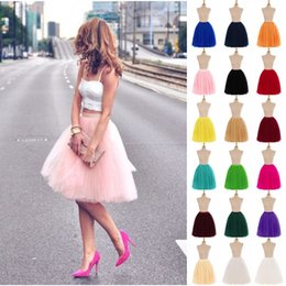 Short Full Tutu Tulle Skirts Prom Party Dresses Ball Gowns 5 Layers Underskirt Crinolines Cheap with 18 Colors CPA583 on Sale