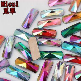 Crafting Gems Australia - Micui 200PCS 6*16mm Acrylic Rhinestone Rectangle Acrylic Flatback Gems Strass Crystal Stones For Dress Crafts Decorations ZZ755