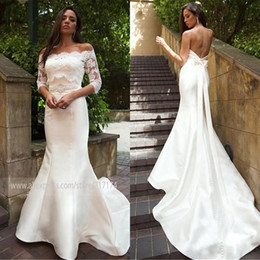 detachable train belt 2020 - Elegant Satin Off-the-shoulder Neckline Mermaid Wedding Dress With Detachable Jacket & Belt 2 Pieces Half Sleeves Bridal