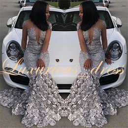 $enCountryForm.capitalKeyWord Australia - Arabian Prom Dresses 2019 Sparkly Beaded Lace See Through Top 3D Flowers Long Sleeve Grey Mermaid African Black Girl Graduation Dresses