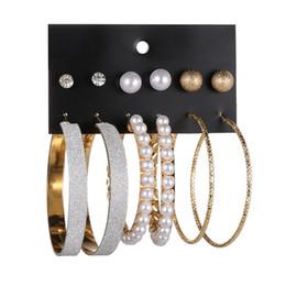 $enCountryForm.capitalKeyWord Australia - 6 Pairs set Fashion Big Circle Simulated Pearls Metal Ball Earring Set Gift For Women Girls Brincos Earrings Jewelry