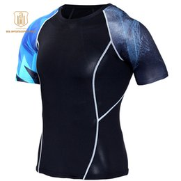 Wear Compression Shorts Australia - Running Shirt Men Compression Tights Fitness Top MMA Rashgard Anime 3D T Shirt Wolf Skull Short Sleeve Men Gym Wear Sportswear