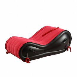 Venta al por mayor de Muebles de sexo inflable rojo Sofá del sexo PVC Flocado Cojín de aire SM Muebles Sexy Sofá Juego adulto Productos del sexo para el amante E5-3-2