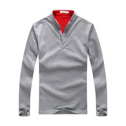 Mens Long Sleeve Red Polo Australia - Hot Sell Autumn Mens Polo Tee T-Shirt Casual Polo Shirts High Street Solid Mens Polo Shirt Long Sleeve Clothing Mens Tops Size M-3XL