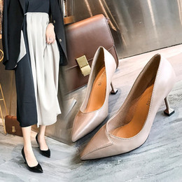 Halloween Heels Australia - Dress Shoes 2019 New Pointed Shallow Mouth High Heels Fashion Wild Women's Stiletto Wedding Temperament Elegant Single