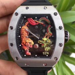 Discount titanium swiss men watch - Automatic Mens Luxury Swiss Brand Watch Black Rubber Strap Titanium Stainless Tiger Dragon Dial waterproof Limited Editi